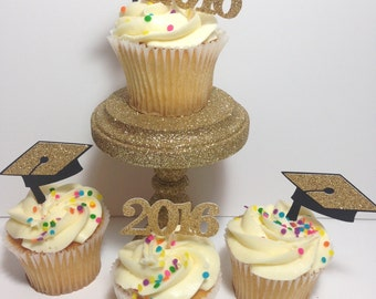 Graduation Cupcake Toppers | Class of 2017 | Congrats | Graduation Decor | Black and Gold | Graduation Party