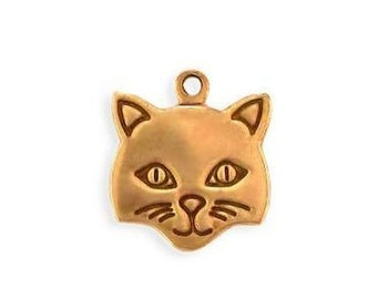 Brass Cat Face Charm, Cat face  Pendant, jewelry, Necklace Component Solid Brass, Vintage tooled. American Made