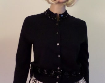 Vintage 1950's Black Cropped Cardigan W/ Sequin & Bows Trim By Jaymar New York Super Orlon Approx Size Small/Medium