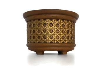 Vintage plastic FTD wood grain planter rattan wrapped plant holder