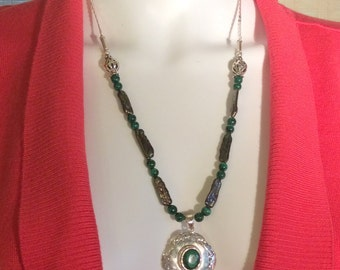 "20 or 24"" Malachite & Green Onyx Pendant Necklace. Sterling Silver,  Joined Stones or Filigree, free US ship"