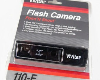 Vintage 1986 Vivitar Flash Camera Point 'N Shoot 110-F  Compact Design with Wrist Strap and Instruction Manual NEW Sealed