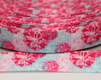 Flower 5/8 Inch Grosgrain Ribbon by the Yard for Hairbows, Scrapbooking, and More!!