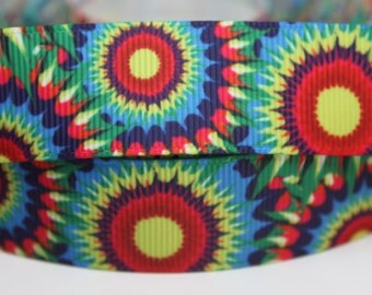 SunFlower Tie Dye 7/8 Inch Grosgrain Ribbon by the Yard for Hairbows, Scrapbooking, and More!!