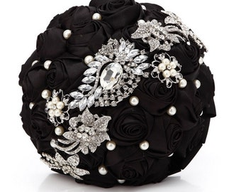 Black  Bridal Bouquet - Roses Pearls Crystals