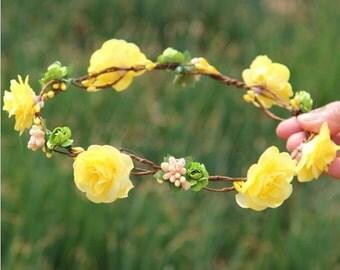 Yellow Rustic Floral Hair Crown - Bridal Floral Crown