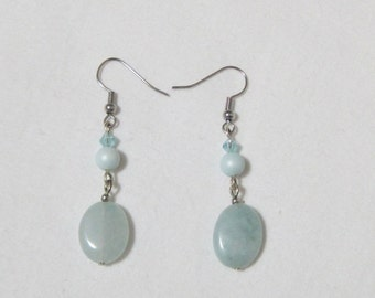 Natural Aquamarine Earrings - March Birthstone Earrings