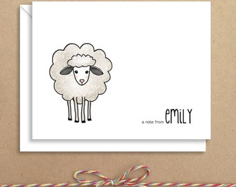 Sheep Note Cards - Kids Folded Note Cards - Personalized Children's Stationery - Thank You Notes - Illustrated Note Cards
