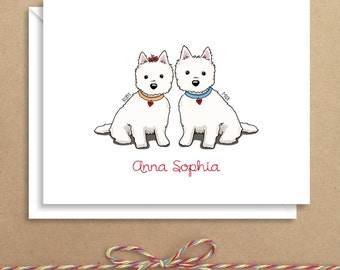 Westies Love Note Cards - Folded Note Cards - Personalized Stationery - Thank You Notes - Illustrated Note Cards