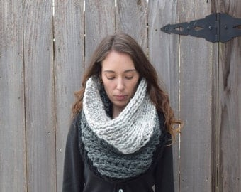 Chunky Crochet Cowl Textured Ribbed Tube Scarf - Hood - Snood - Cape // The Bethpage Cowl
