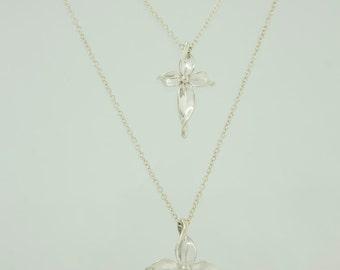 Silver cross. Olive branch