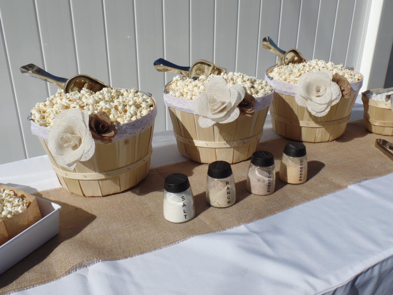 Popcorn Bar Large Basket Burlap Flower Party In A Box