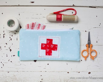 First Aid Pouch, Medical Bag, First Aid Zipper Pouch, Boo Boo Bag, Red Cross Pouch, Epipen Pouch, Robin Egg Blue Pouch