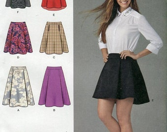 Misses Skirt Sewing Pattern Simplicity 1282 Length Trim Variations Mini Knee Mid Calf Size 14 16 18 20 22 UNCUT