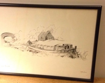 Pair of Canal/Barge/Narrowboat Pen & Ink Drawings
