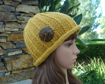 PATTERN #31: Women's Roll-up Brim Knit Hat, Make with or without button, Size Teen/Adult - Instant Download PDF Digital File/Pattern
