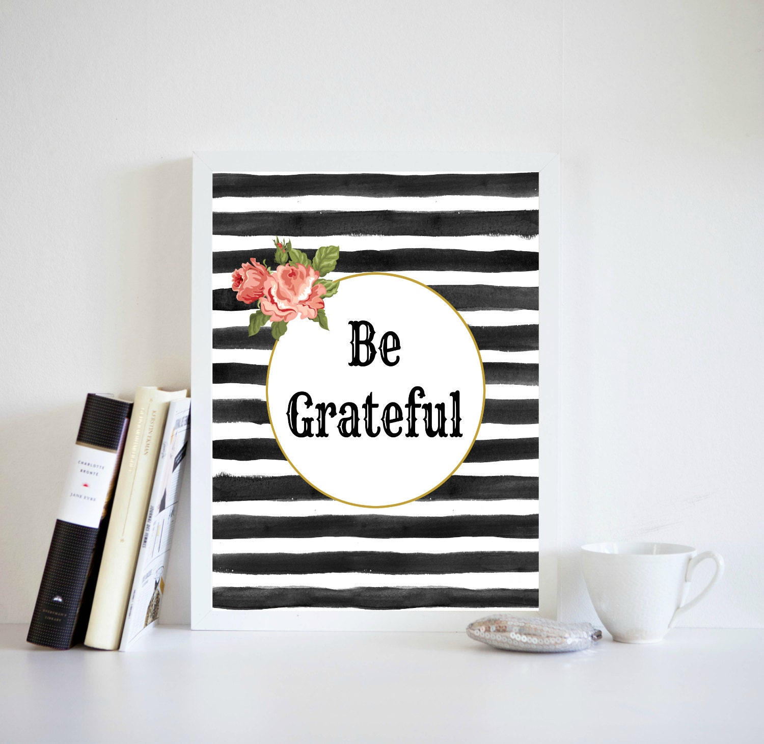 Be Grateful Kitchen Art: Dorm Room Wall Art Be Grateful Quote Black And By