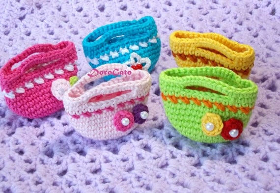 Items similar to Crochet mini tote bag Pattern, easy ...