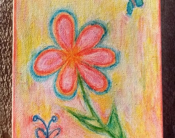Watercolour flower and butterflies on canvas painting
