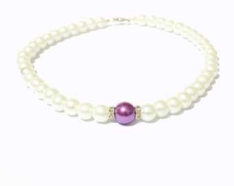 White and purple pearl necklace, white pearl necklace, purple pearl necklace, beaded necklace, bridesmaid necklace, bridal necklace