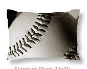 Baseball Pillow Sham-Sports Pillow Sham-Microfiber Sham-Standard Sham-22x30-King Sham-22x38-Boys Room Decor-Sports Decor-Dorm Room Bedding
