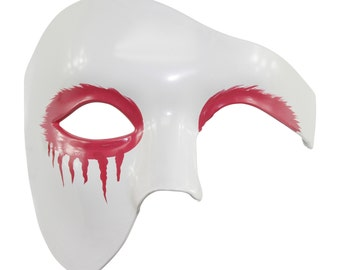 New White Gothic Punk Halloween Mask with Strawberry Pink Tears PP020PK