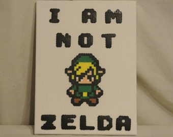 Free Shipping Legend of Zelda Link Inspired Canvas, I am Not Zelda Canvas, Perler Bead Canvas, Link Canvas