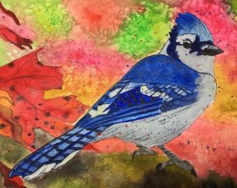 Blue Jay Bird Watercolor Painting, Blue Bird Painting, Blue Jay Bird Painting, Blue Bird In Handmade, Blue Jay Bird Decor