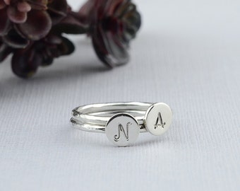 Initial Stacking Ring, Sterling Silver Initial Ring, Hammered Silver Ring, Personalized Jewelry, Custom Initial Ring