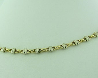 14 K gold two-tone round link necklace