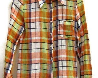 70s BLOUSE POINTED COLLAR Checked orange+green Longsleeve top IndiaCotton button up down women's 1970s vintage blouse Women's small S
