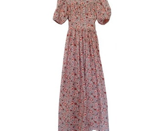 1970s BOHO liberty floral MAXI DRESS // puff sleeves small size floral dress //size Xsmall
