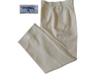 1980s CHANEL silk high waist PANTS // size eu 38 - uk 10 - us 6