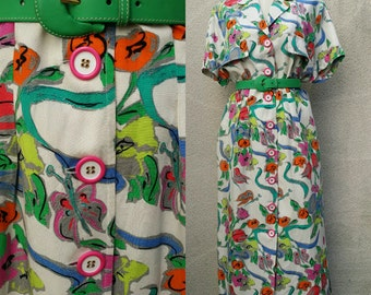 80s Creator/designer Louis Féraud, big size, cotton blouse dress for summer, floral dress, flashy, XXL, elegant  and city-dweller.