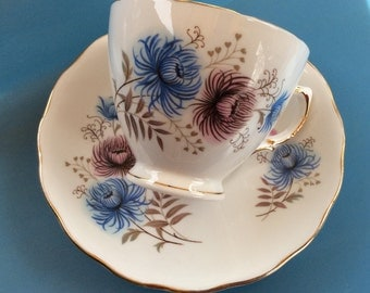 Vintage Royal Vale Tea Cup and Saucer Pink, Blue Thistles and Tan Leaves Gold Trim