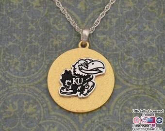 Kansas Jayhawks Two Tone Medallion Necklace