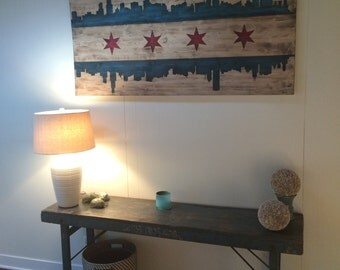 Chicago Flag Skyline Mural