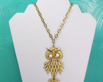 Vintage Articulated Owl Pendant, Gold Tone With Inlaid Enamel Owl Necklace, Gold and Cream Colored Owl Pendant, Owl Necklace
