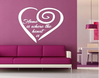 Vinyl Home Is Where the Heart Is Wall Decal, Home Wall Decor, Heart Wall Decal
