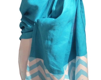 Ring sling blossom, Linen turquoise and chevron turquoise, Baby sling, baby carrier, baby wrap