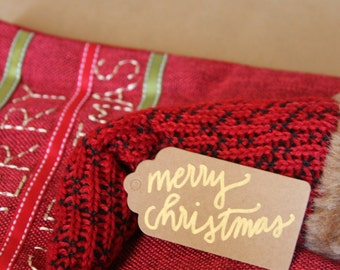 Gold calligraphy Christmas gift tag, Merry Christmas, Joyeux Noel, hand lettered tags by Lucy & Fay