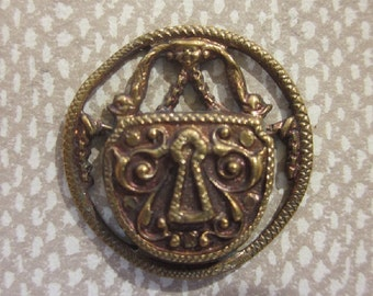 Lock with Keyhole 1800's Pierced Original Tint Metal Picture Button.  Small Button  OneWomanRepurposed B 9