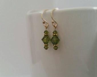 Swarovski Crystal Earrings, Olive Green
