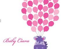 Zebra Balloons Baby Shower Guest Book Print, Welcome Baby Guest Book Print, Girls Pink Purple Balloons, 100ZPP