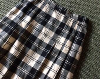 Black & White Plaid Midi Skirt - Vintage Wool Pleated Skirt