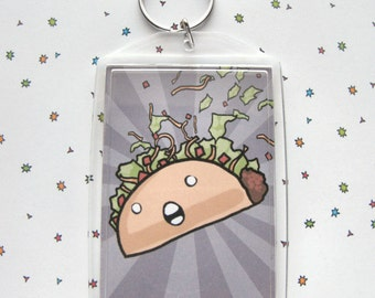 Taco Keychain, Cute Keychain, Funny Taco, Taco Gift, Fun Accessories, Crazy Taco, Screaming Taco, Cute Food, Kawaii Keychain, Funny Gift
