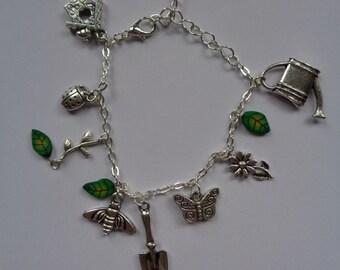 Gardeners silver plated charm bracelet, Gardening gift