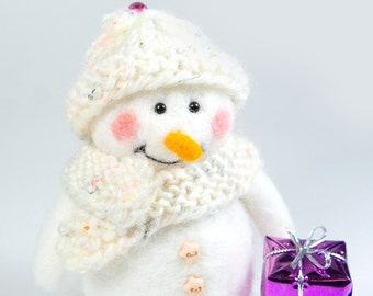 Christmas SALE! Needle felted Snowman, wool snowman, Christmas ornament, Christmas Decor