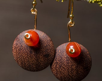 Handmade Hardwood Earrings - Double Convex Shape, Mahogany and Brass, Orange Bead