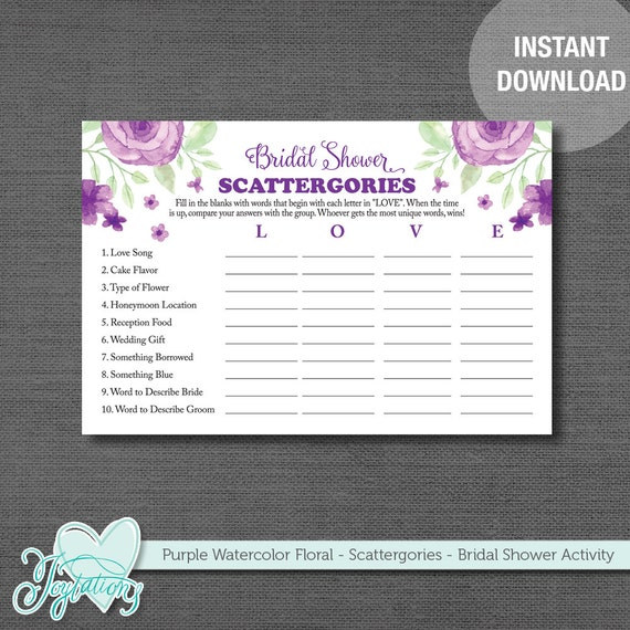 Bridal Shower Scattergories Game, Purple Watercolor Floral